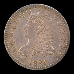 1821 10C Small Date, JR-8, MS