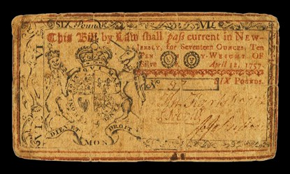 Early Paper Money of America / New Jersey / 1757 April 12
