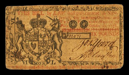 Early Paper Money of America / New Jersey / 1758 October 20