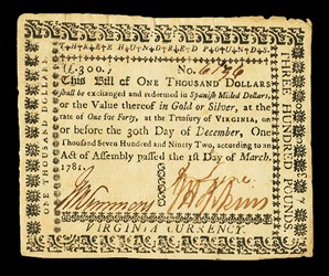 Early Paper Money of America / Virginia / 1781 March 1 Act