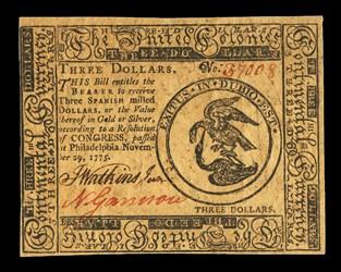 November 29, 1775 $3