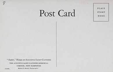 "Reverse side: ""Aspet"" Home of Augustus Saint-Gaudens"