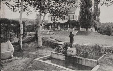 House, Garden, and Fountain