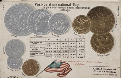 Post-card with national flag, to give information about international coinage