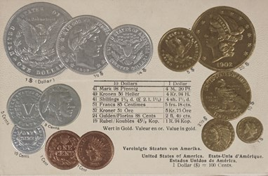 Post-card with embossed US coins and German text