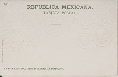 Reverse side: Post-card with embossed Mexican coinage