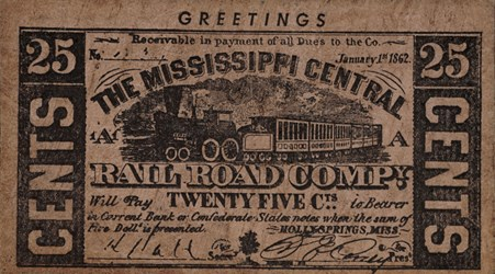 The Missippi Central Rail Road Compy. certificate