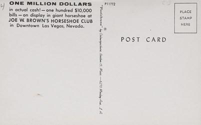 Reverse side: Joe W. Brown's Horseshoe Club