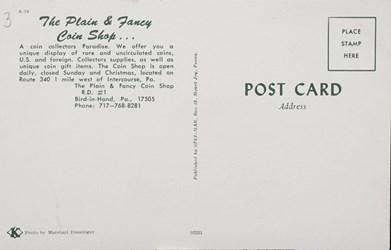 Reverse side: The Plain & Fancy Coin Shop