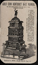 Reverse side: Gold Coin Stoves & Ranges, Compliments of, for sale by R.C. Reynolds, Troy, N.Y.