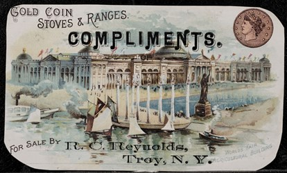 Gold Coin Stoves & Ranges, Compliments of, for sale by R.C. Reynolds, Troy, N.Y.