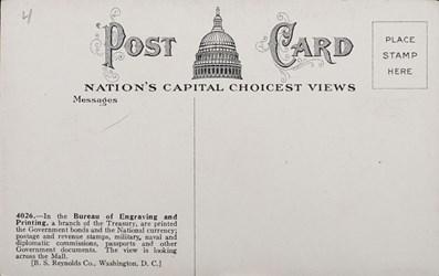 Reverse Side: Bureau of Engraving & Printing, Washington