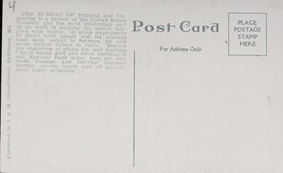 Reverse side: The New Bureau of Printing & Engraving, Washington, D.C.
