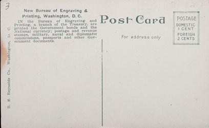 Reverse side: New Bureau of Engraving & Printing, Washington, D.C.