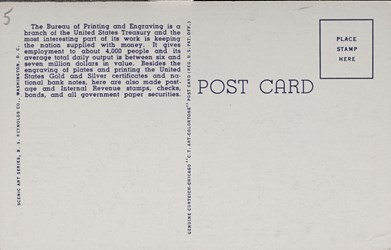 Reverse side: The New Bureau of Printing and Engraving on Potomac Park and Basin, Washington, D.C.
