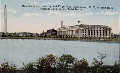 New Bureau of Printing and Engraving, Washington, D.C., as seen from Potomac Park, across Tidal Basin.