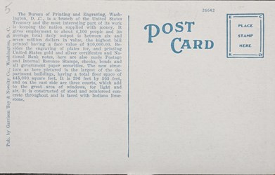 Reverse side: Bureau of Engraving and Printing, Washington, D.C.