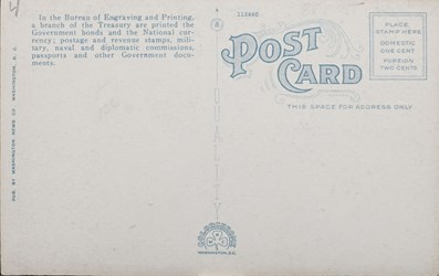 Reverse side: New Bureau of Printing and Engraving on Potomac Park and Basin, Washington, D.C.