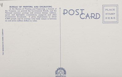 Reverse side: Bureau of Printing and Engraving, Washington D.C.