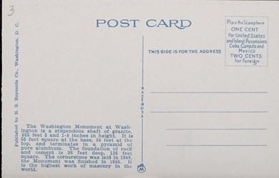 Reverse side: Washington Monument and Bureau of Printing and Engraving, Washington, D.C.
