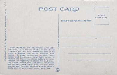 Reverse side: New Bureau of Printing and Engraving on Potomac Park Basin, Washington, D.C.