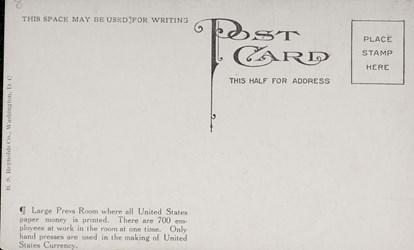 Reverse side: Large Press Room, Bureau of Engraving & Printing Washington D.C.