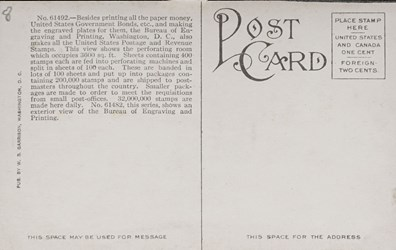 Reverse side: Making Postage Stamps, Bureau of Engraving and Printing, Washington, D.C.