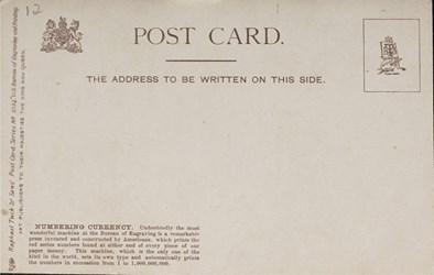 Reverse side: U.S. Bureau of Engraving and Printing. Numbering Currency.