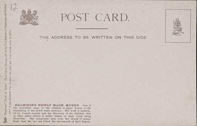 Reverse side: U.S. Bureau of Engraving and Printing. Examining newly made money.