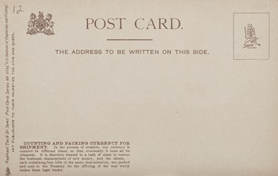 Reverse side: U.S. Bureau of Engraving and Printing. Counting and Packing Currency for Shipment.
