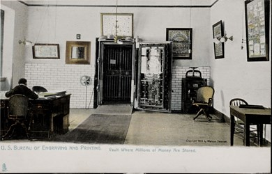 U.S. Bureau of Engraving and Printing. Vault Where Millions of Money Are Stored.
