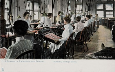 U.S. Bureau of Engraving and Printing. Perforating Postage Stamps.