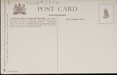 Reverse side: U.S. Bureau of Engraving and Printing. Perforating Postage Stamps.