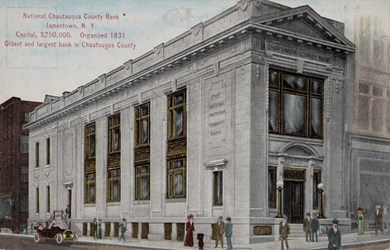 National Chautauqua County Bank, Jamestown, N.Y., Capital, $250,000. Organized 1831. Oldest and largest bank in Chautauqua County.