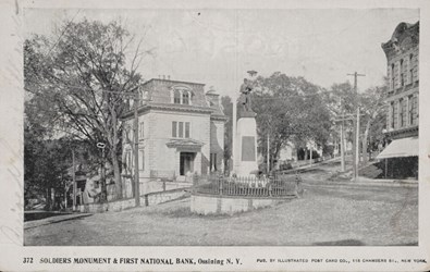 Soldiers Monument & First National Bank, Ossining N.Y.