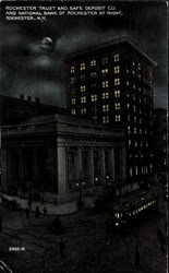 Rochester Trust and Safe Deposit Co. and National Bank of Rochester at night, Rochester, N.Y.