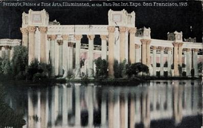 Peristyle, Palace of Fine Arts, Illuminated, at the Pan.-Pac.-Int. Expo. San Francisco, 1915.