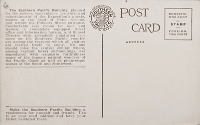 Reverse side: Southern Pacific Building ~ Panama-Pacific International Exposition, San Francisco.