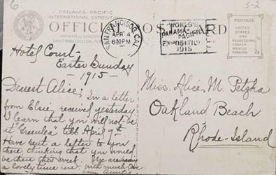 Reverse side: Panama-Pacific International Exposition, San Francisco, 1915. Portalito Palace of Education.