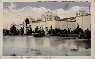 Panama-Pacific International Exposition, San Francisco, 1915. Palace of Food Products, across Fine Arts Lagoon