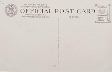 Reverse side: Panama-Pacific International Exposition, San Francisco, 1915. Palace of Fine Arts.