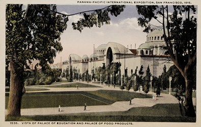 Panama-Pacific International Exposition, San Francisco, 1915. Vista of Palace of Education and Palace of Food Products.