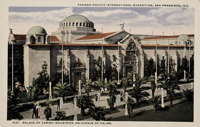 Panama-Pacific International Exposition, San Francisco, 1915. Palace of Varied Industries, on Avenue of Palms