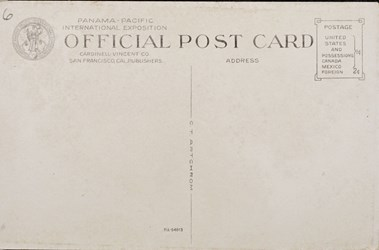 Reverse side: Panama-Pacific International Exposition, San Francisco, 1915. The Ferry Building, San Francisco, Cal.