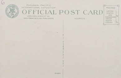 Reverse side: Panama-Pacific International Exposition, San Francisco, 1915. New York State Building.