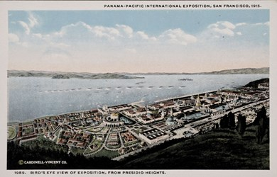 Panama-Pacific International Exposition, San Francisco, 1915. Bird's eye view of Exposition, from Presidio Heights.