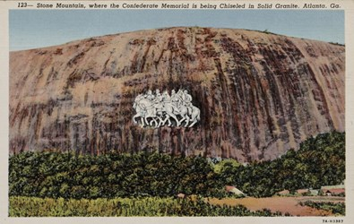 Stone Mountain, where the Confederate Memorial is being chiseled in solid granite, Atlanta, GA.