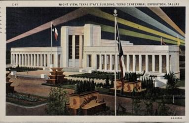 Night view, Texas State Building, Texas Centennial Exposition, Dallas