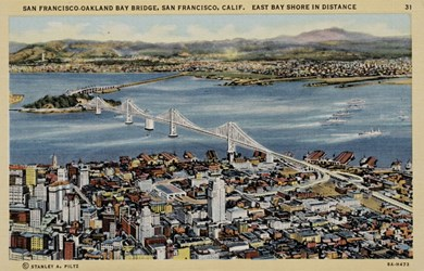 San Francisco-Oakland Bay Bridge, San Francisco, Calif. East Bay Shore in Distance.