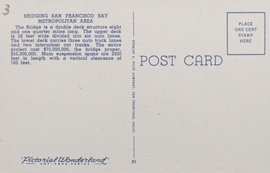 Reverse side: San Francisco-Oakland Bay Bridge, San Francisco, Calif. East Bay Shore in Distance.